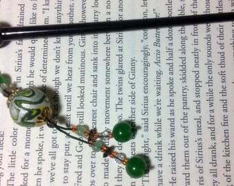 Green & Silver Hair Stick with Jade Beads Handmade