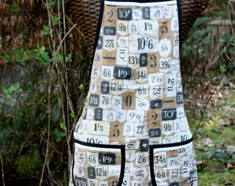 Apron, Full Apron, General Store, Vintage Style, Black White Copper