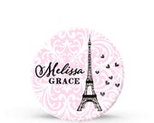 Kids Personalized Plate - Pink Damask Paris Eiffel Tower Melamine Plate for Girls - Plastic 10 inch Plate