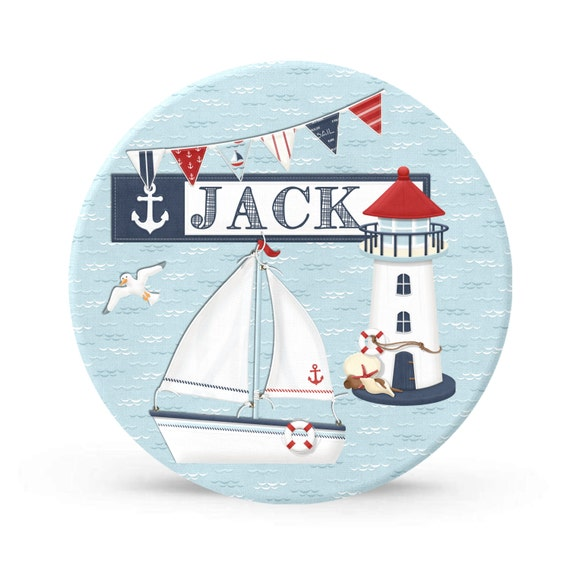 Kids Personalized Plate - Nautical Sailboat Melamine Plate for Boys - Personalized Plastic 10 inch Plate  - Plastic Plate for Kids