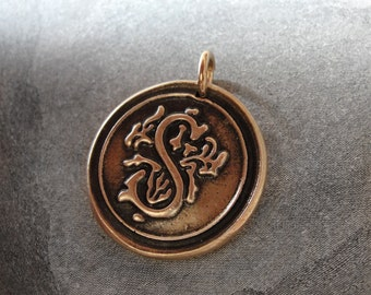 Wax Seal Charm Initial S - wax seal jewelry alphabet charms Letter S by RQP Studio