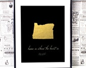 Oregon State - Oregon Map - Oregon State Art - Home Is Where The Heart Is - Home Decor Prints - Gold Wall Art - Housewarming Gift- State Art