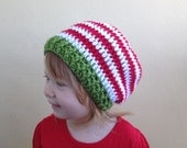 Kids Christmas Hat, Crochet striped slouchy beanie, Boys Slouch Hat, Girls Slouch hat, Toddler slouchy beanie, Adult Christmas beanie
