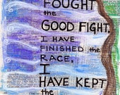 Bible Verse Fight the Fight, Keep the Faith  Timothy Illustrated Watercolor Print