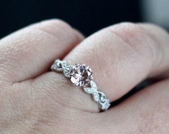 White Topaz Engagement Ring & Diamond Leaf Band w/Milgrain Beading Edge Gaia 1ct 6mm Custom Size White-Yellow-Rose Gold-10k-14k-18k-Platinum