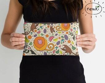 Jungle Zipped Pouch, Tropical Pencil Case, Jungle Pouch, Tropical Zip Pouch, Jungle Pencil Case, Tropical Pattern, Cute Monkey Gift