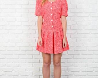 Vintage 80s Pink Retro romper shorts White Polka Dot Print Mini Medium m 3899