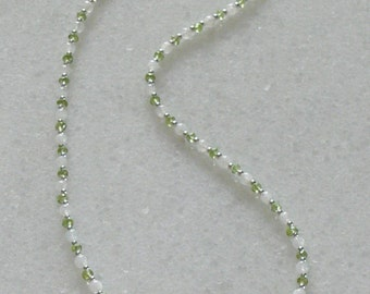 Green Peridot ladies necklace with rainbow moonstone and sterling silver accents