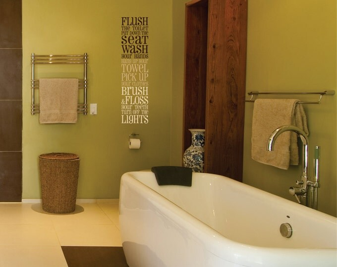 Bathroom Wall Decal // Bathroom Vinyl Wall Decal // Bathroom Subway Art Decor //  Bathroom Sticker