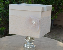 Lace Champagne card box-pearls, card holder, wishing well, custom, gift table, keepsake box, made to order, vintage card box, ivory, organza