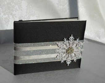 Black and silver snowflake wedding guest book
