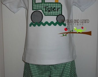 Boy's Green and White Gingham Tractor Top and Shorts Outfit Size 12M-18M, 2T-5T, 6