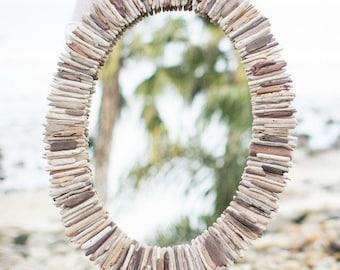 Coastal Wall Mirrors driftwood mirror 36 sunburst double layer reclaimed