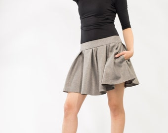 SALE !!! Flowy Gray Short Skirt with pockets Made to order