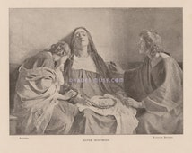 Mater Dolorosa-Sorrowful Mother-Mary-Jesus Christ-Mourning-Grief-Crown Of Thorns-1893 Old Antique Vintage Art PRINT-Religious Picture-Bible