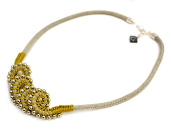 Abstract Rope Necklace, Beaded Crochet Necklace, Grey and Curry Mustard Statement Necklace, Calamari Necklace, Abstract, Octopus
