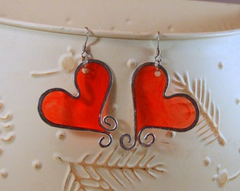 Wire and Resin Heart Earrings