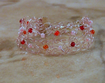 Pink Crocheted Wire Beaded Bracelet