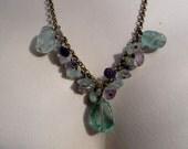 Rainbow Flourite Green Purple Necklace & Earring Set