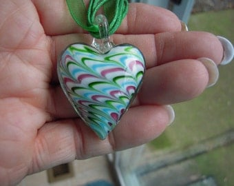 Awesome Dichroic Glass Heart Necklace...ON SALE