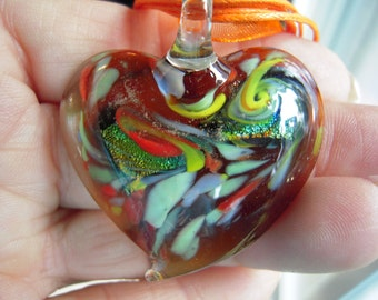 Yummy Mixture Of All Colors In This Dichroic Heart Necklace....ON SALE