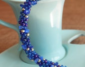 Kumihimo Braided Seed Bead and Blue Cats Eye Chip Bracelet