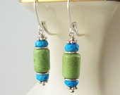 Chrysoprase Earrings Sleeping Beauty Turquoise Jewelry Sterling Silver Leverback Dangle Earrings Blue and Green Natural Stone Jewelry
