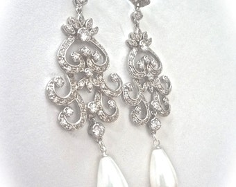 Bridal jewelry - Long pearl drop earrings - Crystal rhinestones - Statement earrings - Beautiful swirl design - ALEXIS