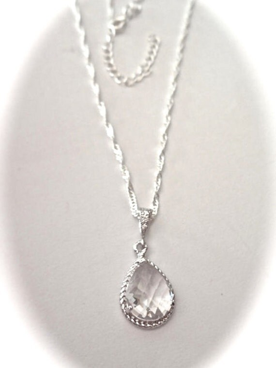 Bridal jewelry - Sterling Silver Necklace -Teardrop Rhinestone - Clear Crystal - Bridesmaids - Classy and Elegant - Gift -