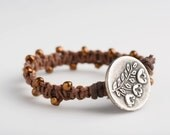 Lovely Rustic Flower Button Bracelet. Made of Hemp and Cotton.