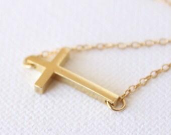 3D Cross Necklace 18k Gold Horizontal Cross Pendant Charm Necklace