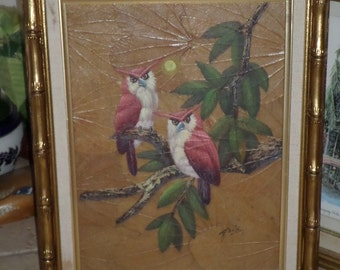 Gris/PAINTING On LEAVES/Thailand/Red Owls On Branch/Acyrllic Paints/Exotic Tropical Birds