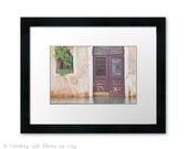Framed art Venice Italy photography wanderlust travel photo large wall art home decor architecture door green brown blue water gift for him