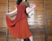Vtg 40s Rust Dress with Lace Detail / Bombshell