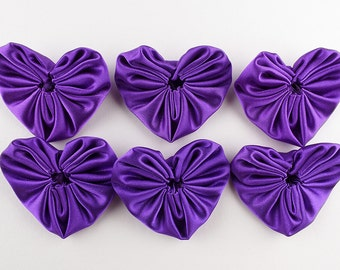 Purple yoyos, 6 pcs, satin heart appliques, medium size in bridal satin, synthetic fabric, hand made craft supply by UK seller.
