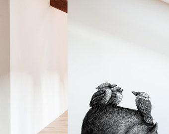 Wombat With 3 Kookas Removable Wall Sticker | LSB0055CLR-RTL