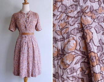 Vintage 80's Boho Peach Woodblock Floral Print Mandarin Collar Dress S or M