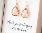 Bridesmaid Gift Jewelry SALE Confettti Peach Coral Drop Earrings Dangle Earrings Bridal Earrings Bridal Jewelry Wedding Jewelry Limonbijoux