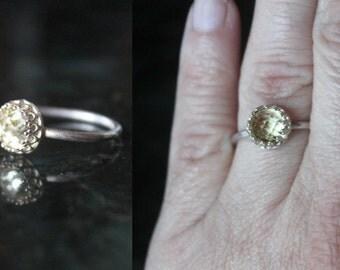 Lemon quartz ring, sterling silver ring, princess ring, crown ring, gemstone ring, medieval ring, statement ring, yellow ring, lemon quartz