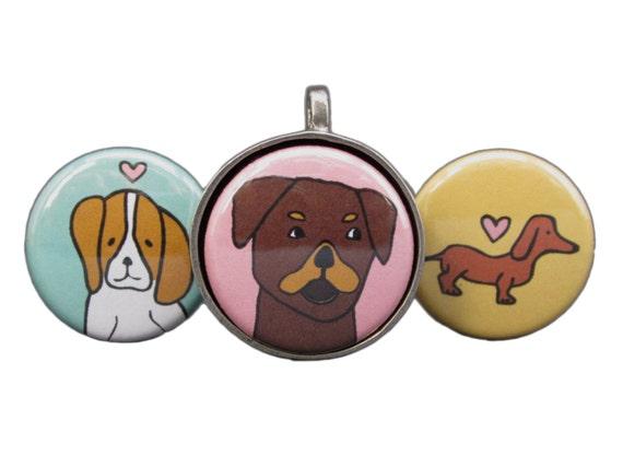 Best in Show Dog Necklace Set - Magnetic Necklace Set - Beagle Pendant - Rottweiler Pendant - Dachshund Pendant