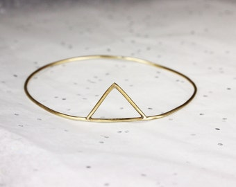 Minimalist Mountain Brass Bangle