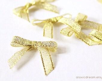24/48/96ct Mini GOLD Ribbon Bows - Ready For Use