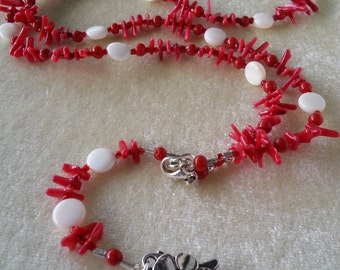 """Coral & Mother of Pearl Beaded ID Lanyard, Name-tag Holder, Necklace, 32"""""""