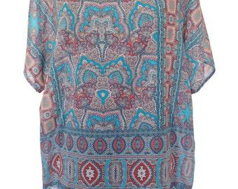 Paisley Shirt, Blue Plus Size, Gemstone Paisley Print, Blue Blouse, Oversize, Plus Size, Designers Shirt, Summer Shirt