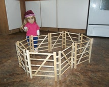 "American Girl doll scale wooden corral - pasture fence - hand made recycled wood 9"" tall 6' length"