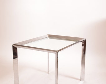 Milo Baughman Attributed Chrome Mirrored End Table
