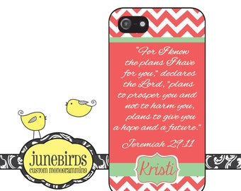 Personalized iPhone 6, iPhone 5/5s and iPhone 4/4s Cell Phone Case - Jeremiah 29:11 in Coral and Mint