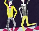Dancing Dudes Illustration - Archival Print