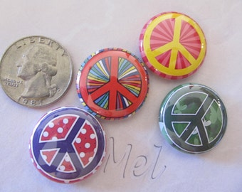 colorful peace signs 1 inch set of 4 button magnets