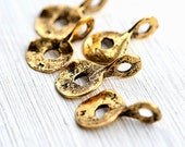 Cornflake charms, chunky, organic, Golden beads, greek beads, round, large loop, antique gold, metal casting  - 18x11mm - 5Pc - F217